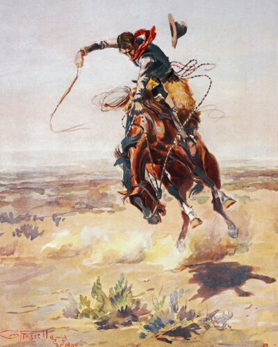 Cowboy With A Bad Hoss Wild West Horse Russell Painting Real Canvas Art Print