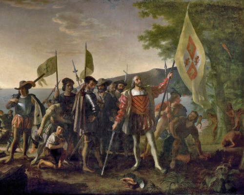 The Landing Of Columbus In America History Painting Real Canvas Art Print