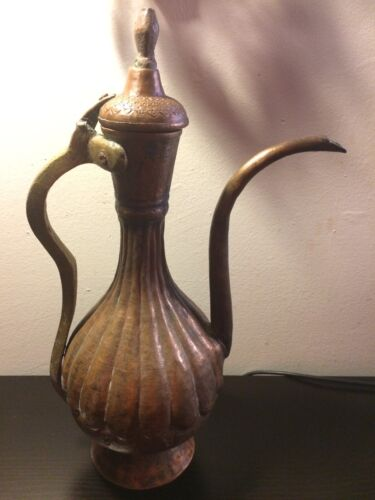 """Antique Middle East Turkish Repousse 18"""" Hammered Copper Teapot w/ Brass Handle"""