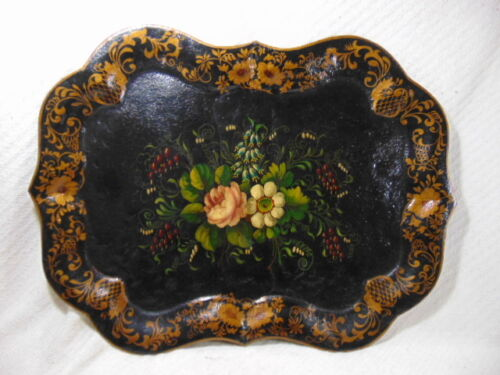Antique Primitive Hand Painted Floral Chippendale Style Toleware Tray