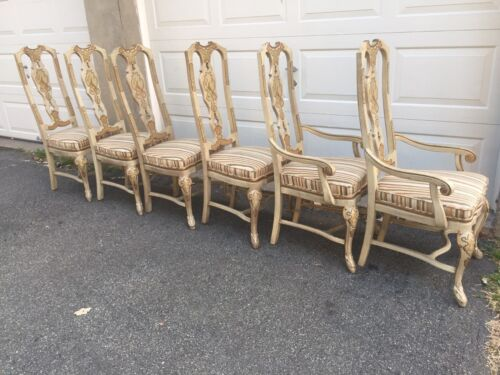 Drexel Heritage Chinosierie Painted Set 6 Oriental Asian Dining Chairs Vintage