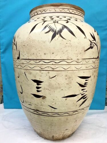 Antique Large Korean Pottery Celadon Glazed Vase, Height 24 Inches