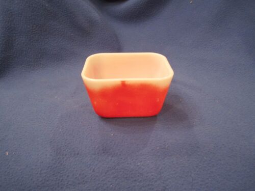 Vintage Kitchen Small Pyrex Refrigerator Dish - Milk Glass Red - No Lid 2
