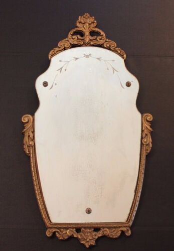 Antique Gold Gilt Ornate Hand Carved Scallop Mirror Etched and Decor Screws