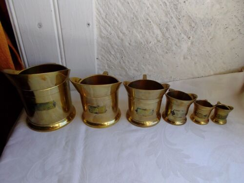French vintage  set of 6  brass measurement cups decoration / collection