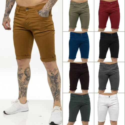Kruze Mens Slim Fit Stretch Cotton Chino Shorts Summer Casual Smart All Waists