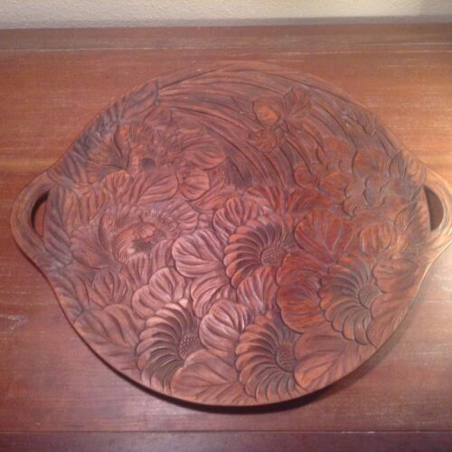 MISSION MEXICAN CALIFORNIA SERVING WOOD TRAY FLORAL MOTIF