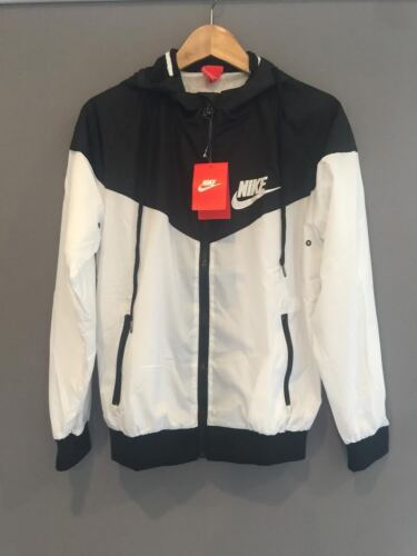 Nike Women Men Windrunner Black & White Sport Hooded Sweater Coat Jacket