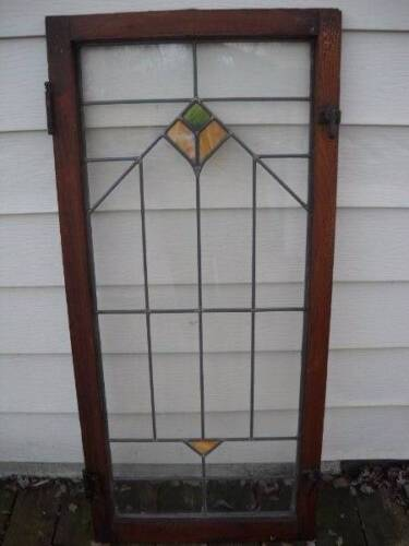 Antique Leaded and Stained Glass Cabinet Doors 1 of 2 avail Orig Hardware No crk