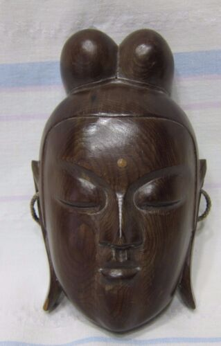 Antique Japanese wood hand carved mask of goddess with incrustation.