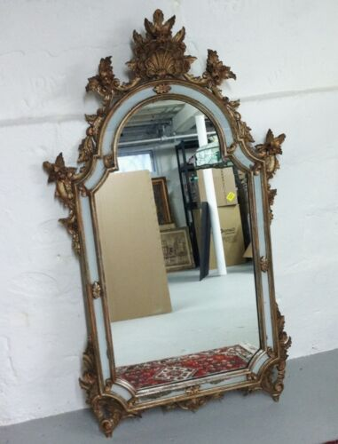 Antique Italian Gilt Wood Carved Mirror with Shell and Floral Motif ca. 1940's