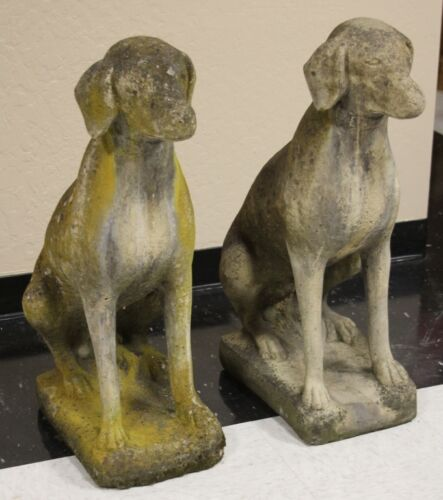 PAIR OF VINTAGE CAST STONE GARDEN HOUNDS Lot 6055