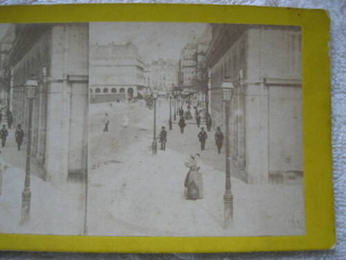 1800s VIEW OF A BUSY SIDE WALK IN A CITY STEREOVIEW