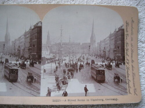 1901 STREET SCENE HAMBURG GERMANY STEREOVIEW