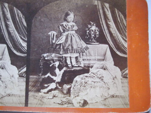 1860's GIRL WITH NOSE OUT OF JOINT OVER NEW BABY STEREOVIEW