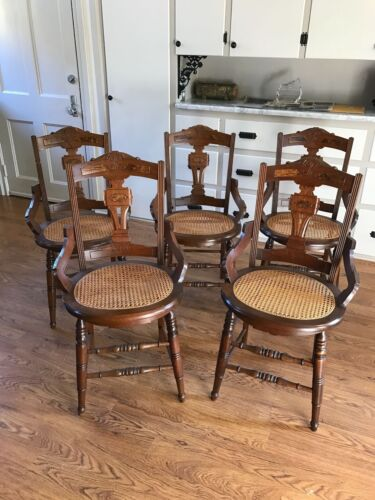 Renaissance Revival Victorian Walnut Cane Seat Dining Chairs - Set of 5
