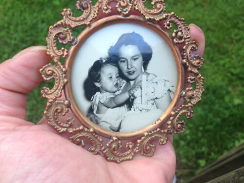 Antique Miniature Round Copper-Brass Picture-Photo Frame-Ornate