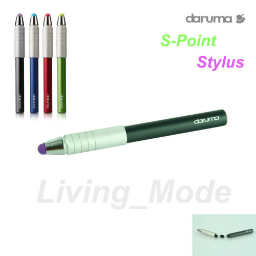 Black daruma S-Point Stylus for iPad iPhone iPod Tablet -Replaceable Tip Storage