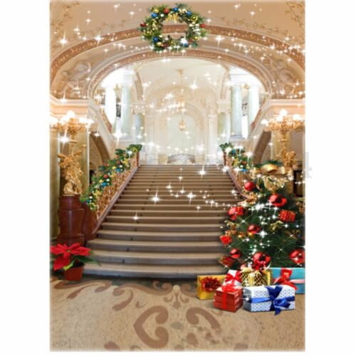 5x7FT Christmas Tree Palace Stairs Vinyl Background Studio Photography Backdrop