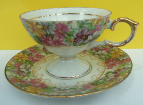 Vintage Porcelain Teacup and Saucer with Gold Trim ~ Footed Teacup