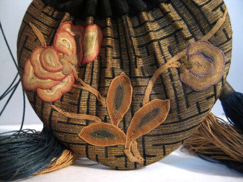 Antique Chinese Embroidered Drawstring Scent Pouch Purse Incense Snuff