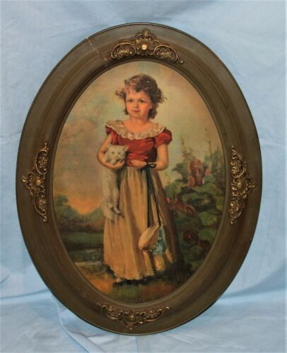 Antique or Vintage Oval Painted Wood w/Gold Picture Art Frame w/Girl Print 24x18