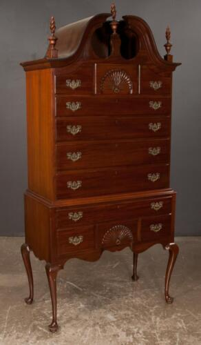 Queen Anne design mahogany bonnet top highboy with urn shape flame to... Lot 244