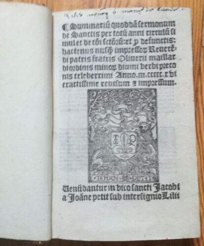 Post Incunable Maillard Sermonum de Sanctis Paris Petit 1516