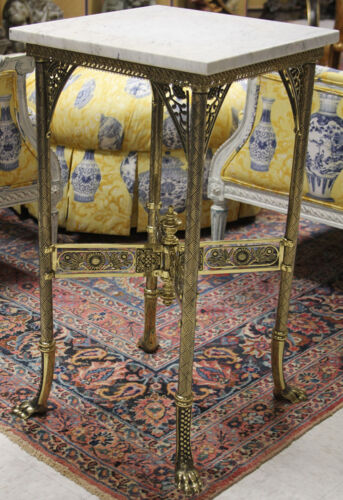 VICTORIAN CAST BRASS MARBLE TOP SIDE TABLE Lot 6131