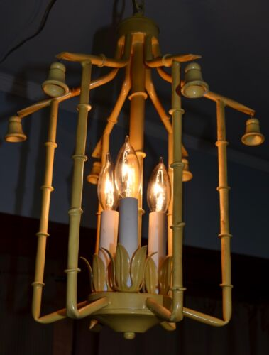 Tole Faux Bamboo Chandelier Vintage Hollywood Regency Italian Pagoda Chinoiserie