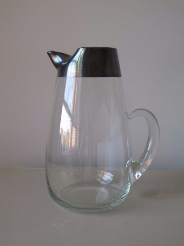 "Dorothy Thorpe Silver Band Large 96 oz Pitcher 10"" Mid Century Modern MCM"