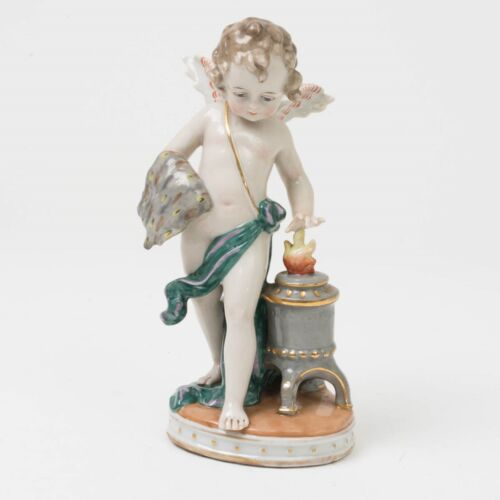 "Antique German Porcelain Figurine Cupid Iron Stove 7.25"" Flame Blacksmith Angel"