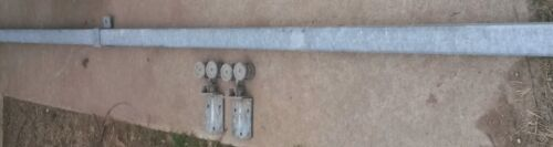Antique/Vintage 8' BOX/TUBE Rail for Barn Door : Track ,Hangers ,Rollers. Nice!