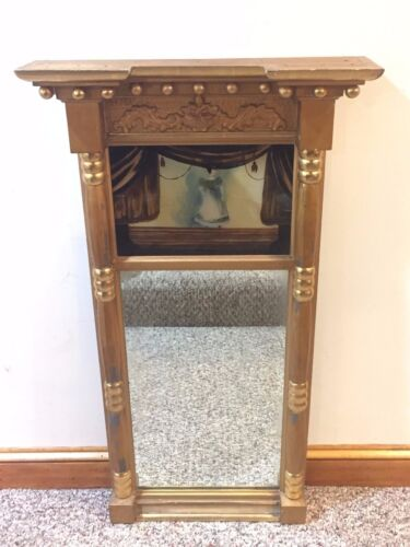 Antique Federal Split Column Mirror with Reverse Painting on Glass