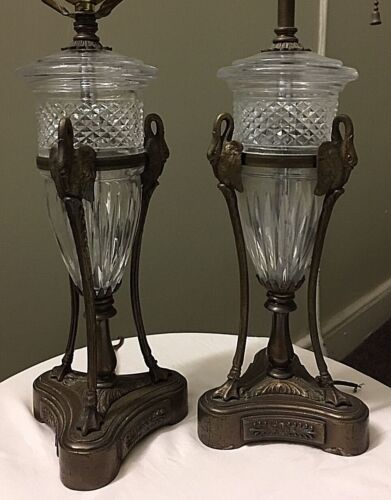 Vintage Neoclassical Style Lamps Pair Swan Glass Ormolu