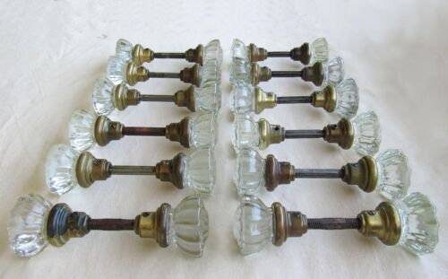 1 Pair of Refurbished Antique Vintage Glass Door Knobs - 25 Pairs Available