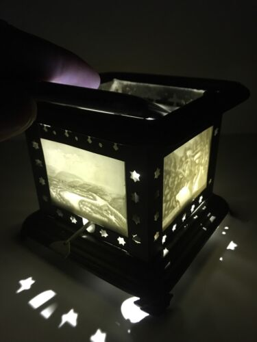 Rare Beautiful Antique Lithophane 4 Panel sided Oil Lamp / Lantern