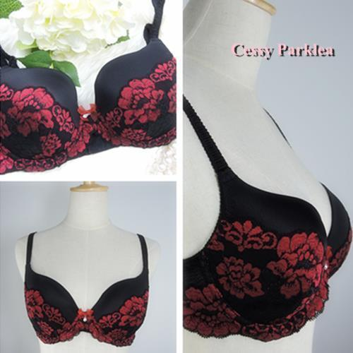 "Germany ""Bpc"" Black Red Embroidery Lace overlay Slight Padded Wire Bras"