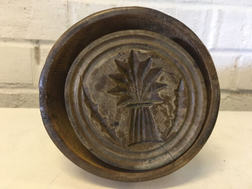 Antique Primitive Turned Wood Butter Mold w/ Tree or Pineapple Decoration