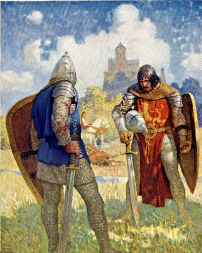 Knight Lancelot & Young King Arthur Painting 8x10 Real Canvas Fine Art Print
