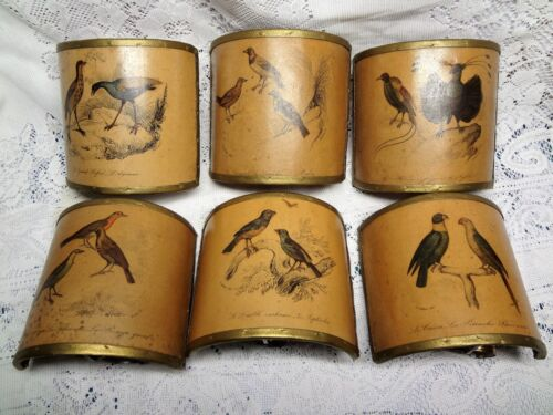 Six Antique French Half Moon Shade Candle Sconce Birds Signed Set Boudoir Rare