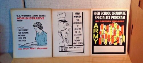 """Cool Set of 3 Vintage US Army Posters WWII 1940's 11"""" x 14"""" Original Period Items - 13983"""