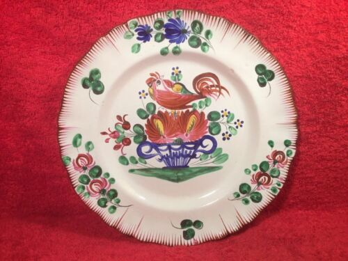 Antique French St. Clement Luneville Faience Hand Painted Plate c1800, ff652