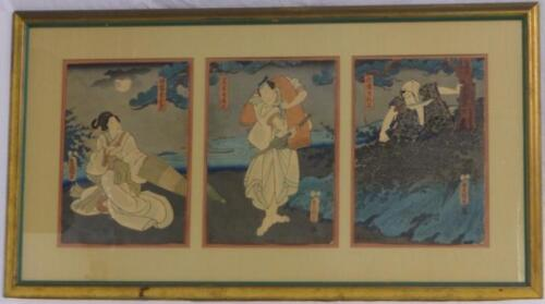 JAPANESE WOODBLOCK PRINT TRIPTYCH Lot 171