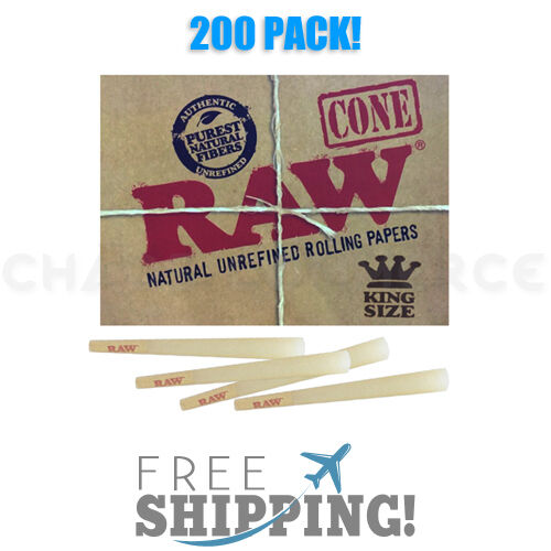 RAW Classic King Size Authentic Pre-Rolled Cones with Filter - 200 Pack