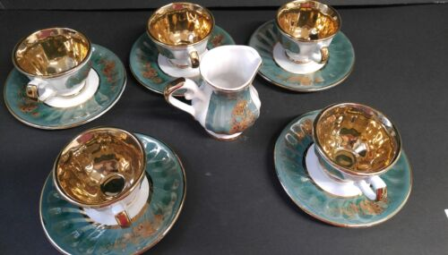 Onur Porcelain 24K Gold Plated Teacups Saucers and Creamer Made in Turkey