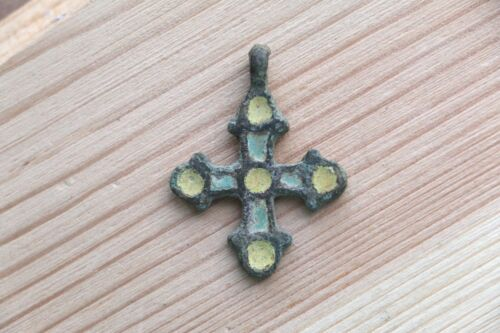 Stunning Traditional Viking Pendant Cross with enamels 9-10 AD