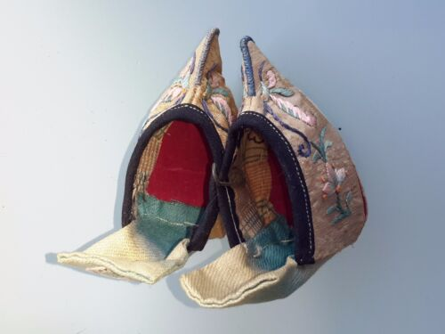 Antique 19th c. Chinese Women Bound Feet Silk Shoes Tiny