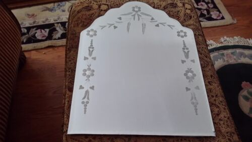 "vintage etched flowers heart  wall 24 "" mirror"