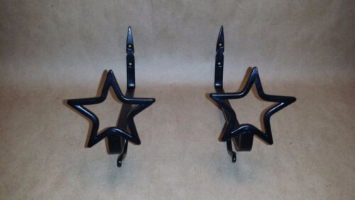 Star Shelf Brackets with Hook, Set of 2 Black Wrought Iron, Stars, New, Curtains